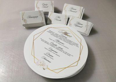 Изработка и дизайн на сватбени тейбъл картички и меню.