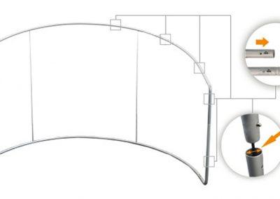 C-образна текстилна стена